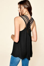 Criss-Cross Back Detailed Solid Tank Top (S-3XL)