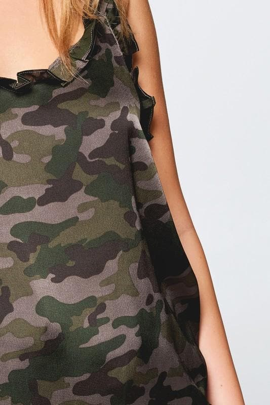 Frill Trim Neck Camouflage Satin Cami Tank Top