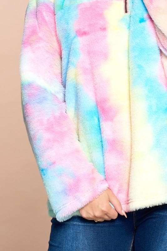 Tie Dye Faux Fur Pullover Sweater