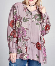 Plus Size Floral Print Trapeze Button Down Top
