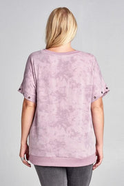 Detachable Lace-Up Sleeve Mineral Washed Top