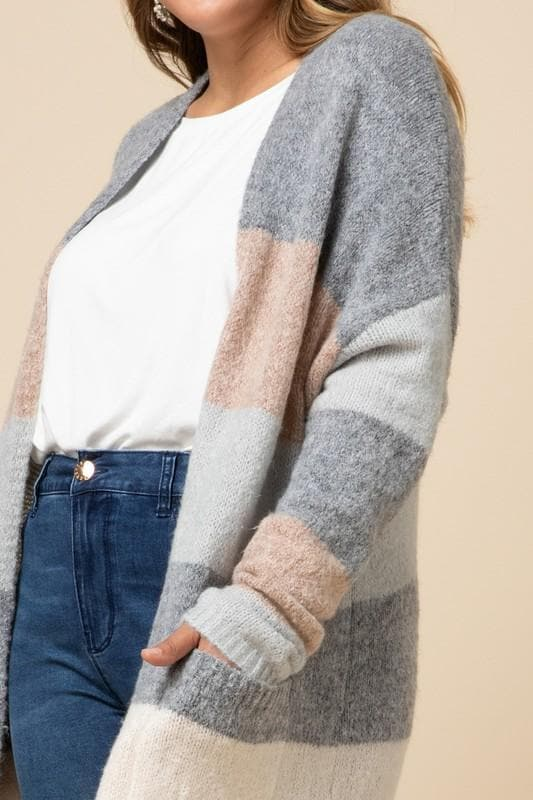 Striped Cardigan Featuring Pocket Detail at Front