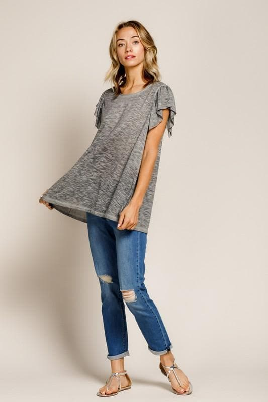 Washed Slub Jersey Tiered Sleeve Knit Top