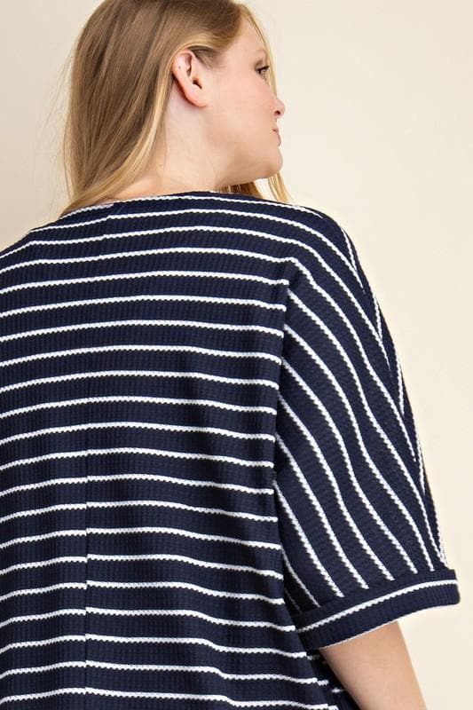 Plus Size Waffle Striped Cardigan with Pockets