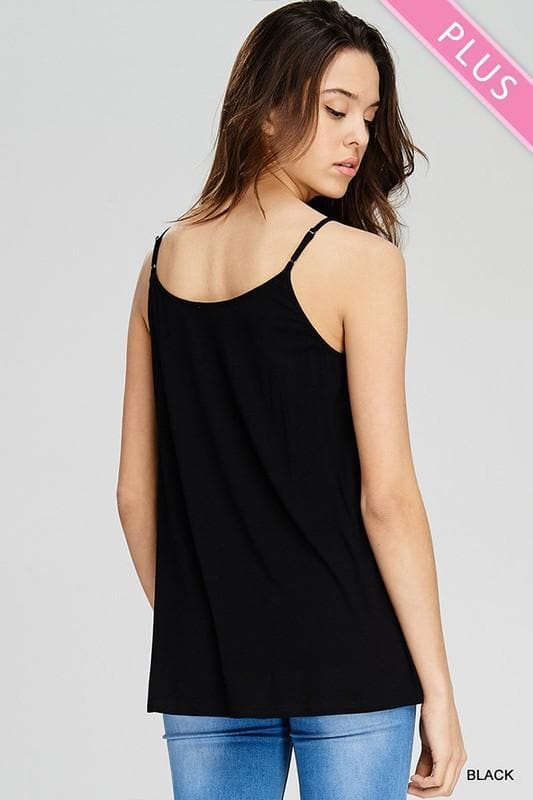 Plus Size Solid Tank Top with Strappy V-Neck