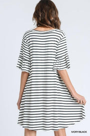 Striped Trumpet Sleeve Dress with Pockets