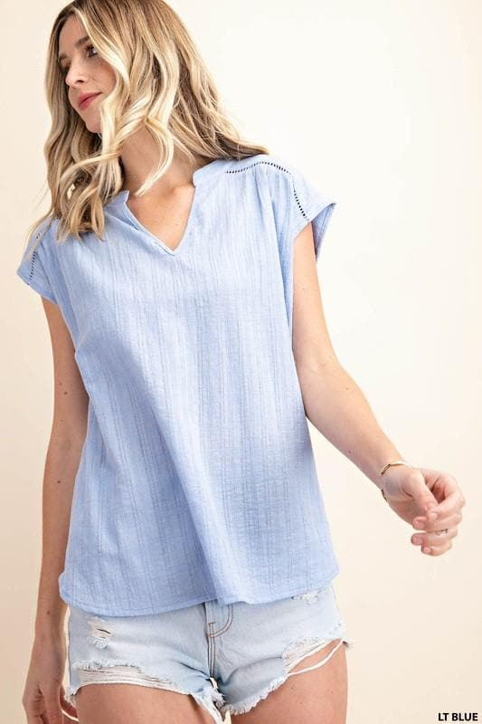 Ladder Lace Trimmed Textured Cotton Top