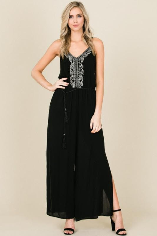 Wide Leg Embroidered Jumpsuit with Pockets