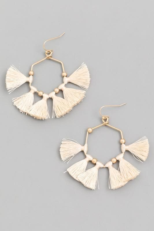 Hexagon Tassel Drop Earrings