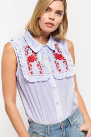 Sleeveless Embroidered Button Down