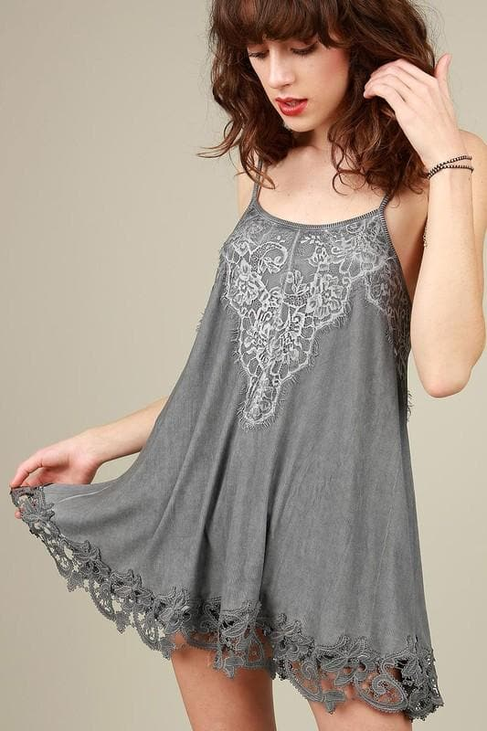Pol - Back Cross Strapped Tunic with Crochet and Lace Details