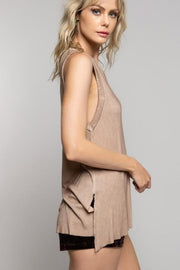 Pol -  Sleeveless Long Flowy Ribbed Top with Side Slits