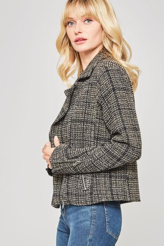Plaid Tweed Zip Up Motorcycle Jacket with Pockets