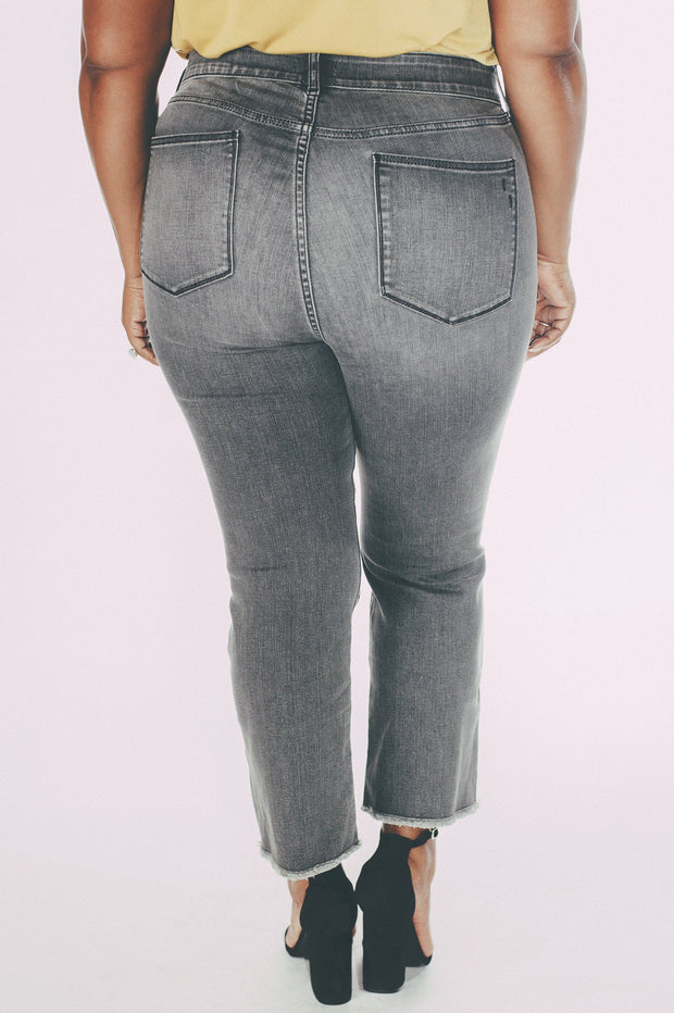 Plus Size Boot Crop Pants With Frayed Hem (Cresent Drive)
