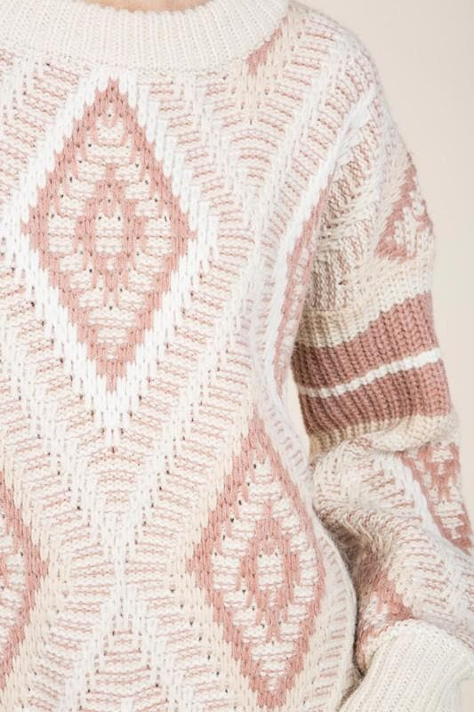 Pol - Printed Round Neck Knit Sweater with Ribbed Neckline and Hem