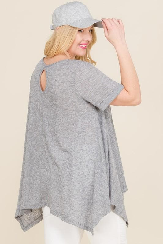 Plus Size Short Sleeve Top with Back Keyhole