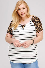 Plus Size Stripe Casual Top with Animal Print Contrast Sleeve