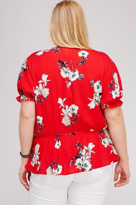 Plus Size Red Florll Wrap Top