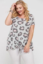 Plus Size Leopard Short Sleeve Top Featuring Front-Tie Detail