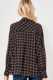 Rusty Dreams Plaid Button Down Top