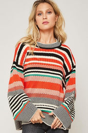 Multicolor Striped Long Sleeve Crew Neck Sweater