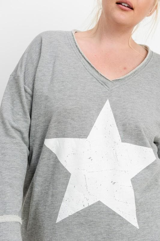 Plus Size Antiqued Star V-Neck Sweatshirt