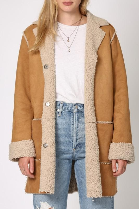 Long Suede Shearling Jacket with Front Pocket