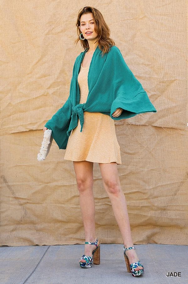 Long Bell Sleeve Open Front Kimono with Sharkbite Hem