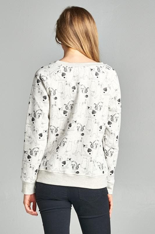 Plus Size Over Cat Print Sweatshirt with Fleece Lining