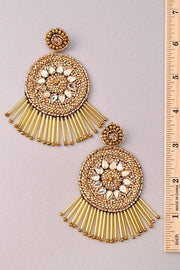 Medallion Style Seed Bead Earrings