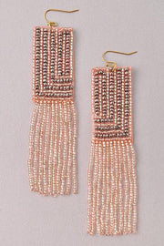 Grey and Peach Seed Bead Earrings