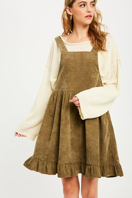 Vintage Corduroy Ruffle Hem Allover Dress