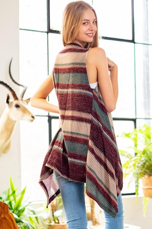 Multi Stripe Knit Vest Cardigan