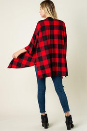 3/4 Sleeve Plaid Flannel Tie Front Cardigan