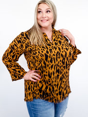 Animal Print Long Sleeve V-Neck Collared Tunic with High low Frayed Hem (S-2XL)