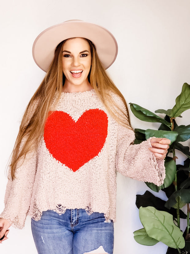 Pol - Love Me Popcorn Sweater Featuring Contrast Color Heart Shape Design on Center Front