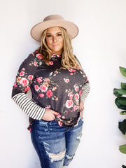 Plus Size Long Sleeve Hoodie Top with Striped Detail