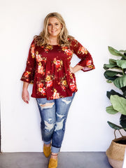 Plus Size Wine and Mustard Floral Tunic