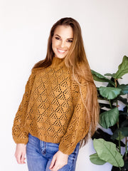 Pol - Mock Neck Crochet Sweater with Balloon Sleeves