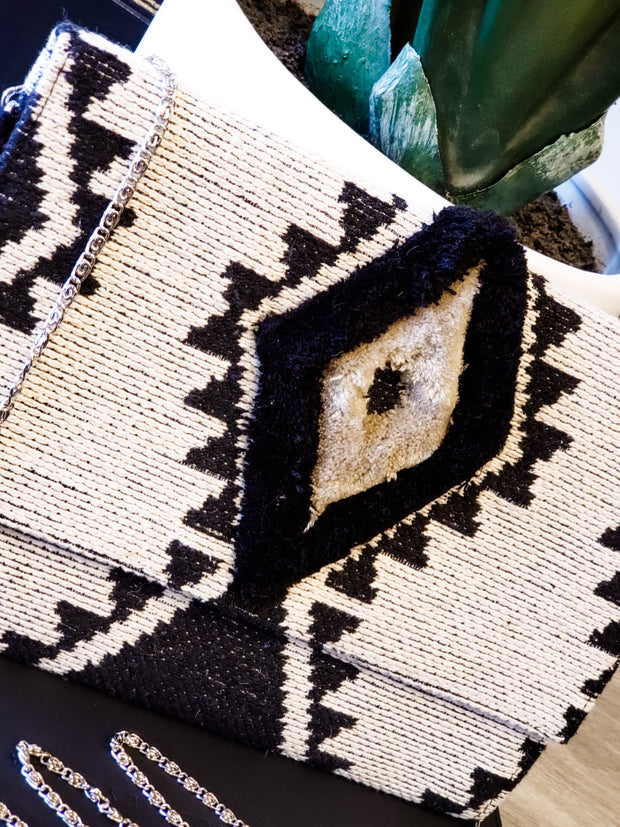 Embroidered Durry Flap Clutch