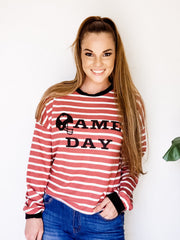 Game Day Graphic Striped Long Sleeve Knit Sweater