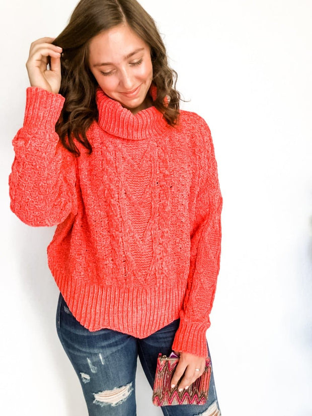 Chunky Turtleneck Cropped Knit Sweater