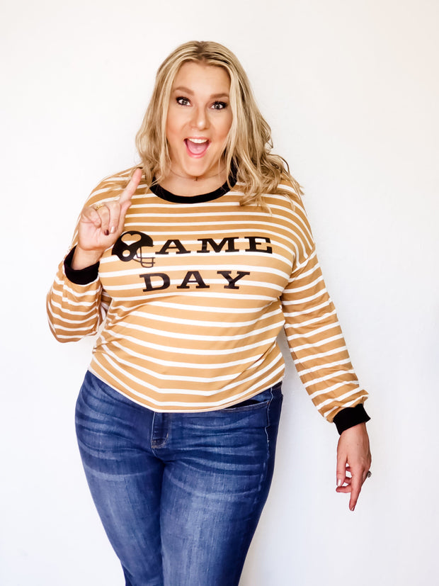 Plus Size Game Day Graphic Striped Long Sleeve Knit Sweater