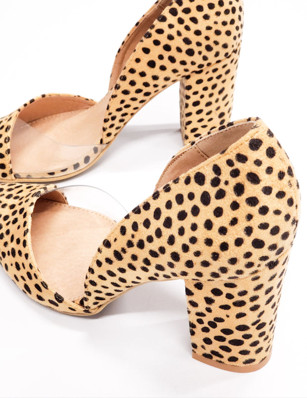 Uptown Babe Pointed Toe Heel in Nude or Leopard