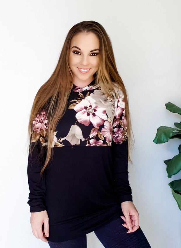 Long Sleeve Hoodie Top with Floral Detail