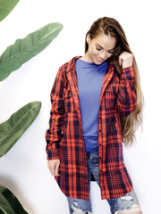 Plaid Hoodie Button Down Shirt Top with Bust Pocket