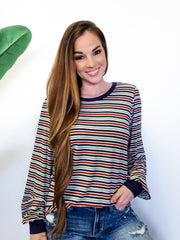 Contrast Band Multi Stripe Knit Top