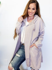 Easel - Long Sleeve Washed Terry Knit Hoodie Open Cardigan