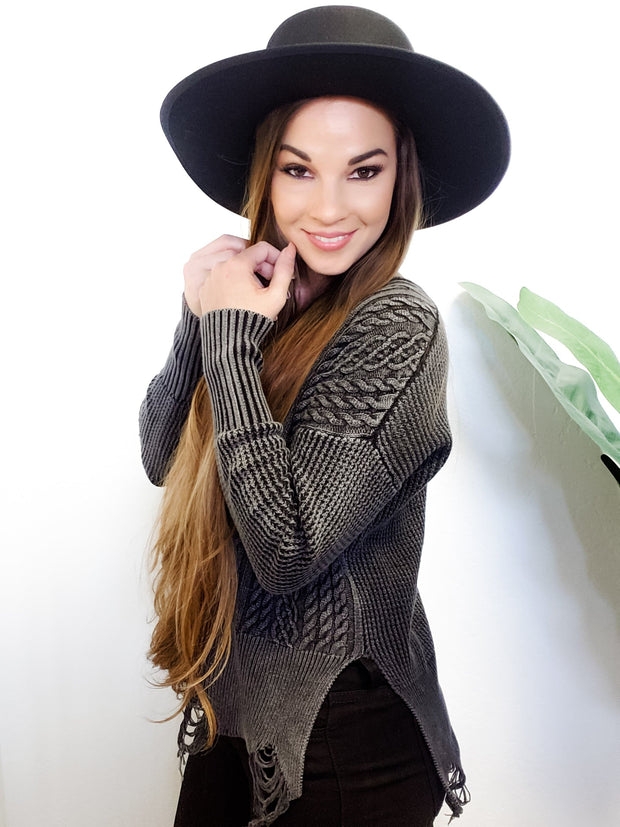 Solid Washed Cable Knit Sweater (S-3XL)