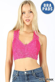 Racer Back Lace Bralette - Hot Pink